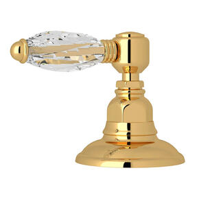 Deck Mount 3-Port 2 Direction Diverter - Italian Brass with Crystal Metal Lever Handle
