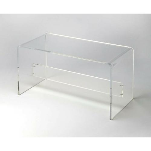 Crafted from clear acrylic and featuring a minimalist modern design, this comfortable bench will be the highlight of any entryway or contemporary bedroom.