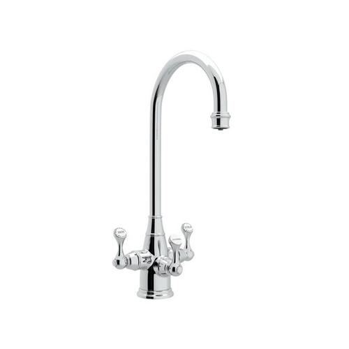Georgian Era Filtration 3-Lever Bar and Food Prep Faucet - Polished Chrome with Metal Lever Handle