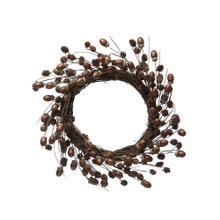 """See Details - 20"""" Round Acorn & Pinecone Wreath w/ Glitter, Brown"""