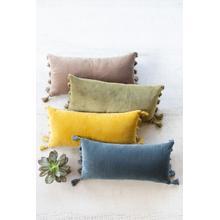 See Details - Lush Velvet Lumbar Pillow \ Steel Blue