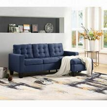 ACME Earsom Sectional Sofa (Rev. Chaise) - 56650 - Transitional - Linen Fabric, Frame: Wood (), Foam (D), Leg: Plastic - Blue Linen