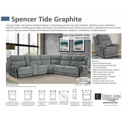 SPENCER - TIDE GRAPHITE Armless Recliner