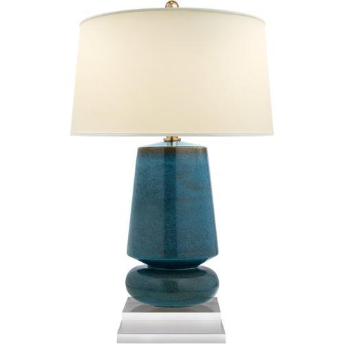 Visual Comfort - E. F. Chapman Parisienne 29 inch 150.00 watt Oslo Blue Table Lamp Portable Light, E.F. Chapman, Small, Natural Percale Shade