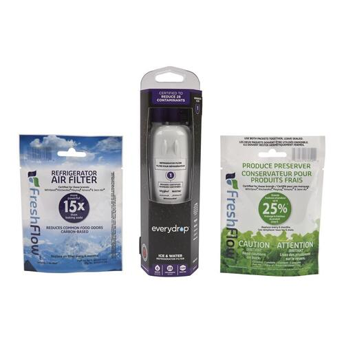 Whirlpool - Everydrop® Refrigerator Water Filter 1 - EDR1RXD1 (Pack Of 1) + Refrigerator FreshFlow™ Air Filter + FreshFlow Produce Preserver Refill