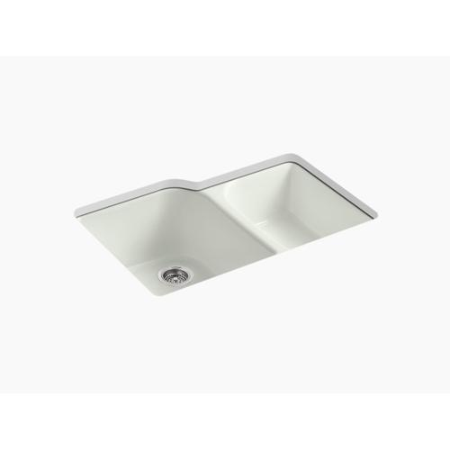 """Dune 33"""" X 22"""" X 10-5/8"""" Undermount Large/medium, High/low Double-bowl Kitchen Sink With 4 Oversize Faucet Holes"""