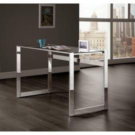 See Details - Contemporary Chrome and Glass Top Writing Desk