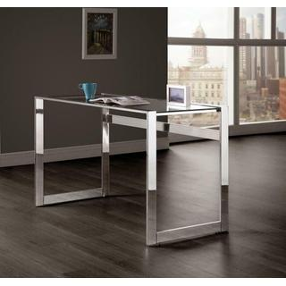 Contemporary Chrome and Glass Top Writing Desk