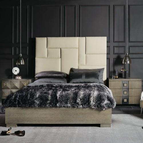King-Sized Mosaic Upholstered Panel Bed