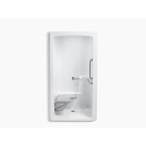 "White 45"" X 37-1/4"" X 84"" One-piece Barrier-free Transfer Commercial Shower Stall With Brushed Stainless Steel Grab Bars and Left-hand Seat"