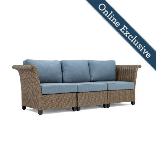 Nolin 3pc Sectional w/ Blue Cushion