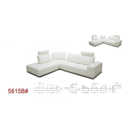 VIG Furniture - Divani Casa Martha - Modern White Leather Right Facing Sectional Sofa