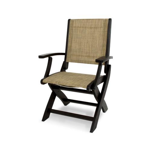 Black & Burlap Coastal Folding Chair