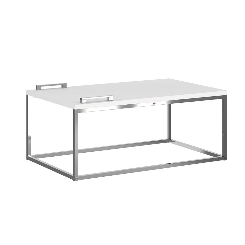 The Noa Cocktail Table Part Of Our Kd Collection In Matte White With Chromed Metal Frame And Removable Tray.