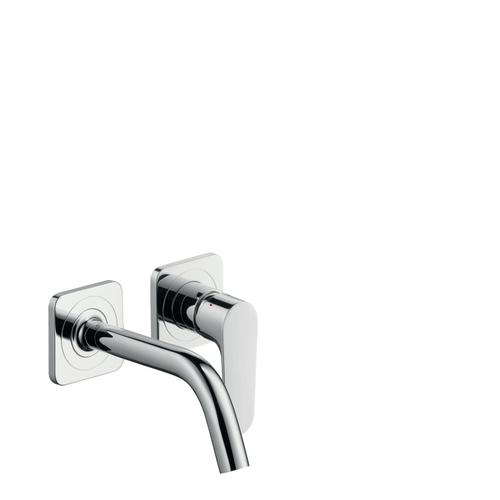 Chrome Single lever basin mixer for concealed installation wall-mounted with spout 167 mm and escutcheons