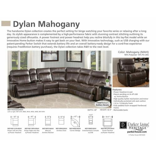 Parker House - DYLAN - MAHOGANY Power Left Arm Facing Recliner