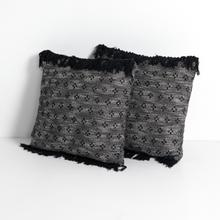 Dakota Pillow-black Stitch With Fringe