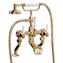 See Details - Waldorf Exposed Deck-mount Bathtub Faucet with Handshower and White Lever Handles - Unlacquered Brass