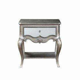 ACME Esteban Nightstand (1 Drw) - 22207 - Glam - Wood (Poplar), Poly-Resin, MDF, PB - Antique Champagne
