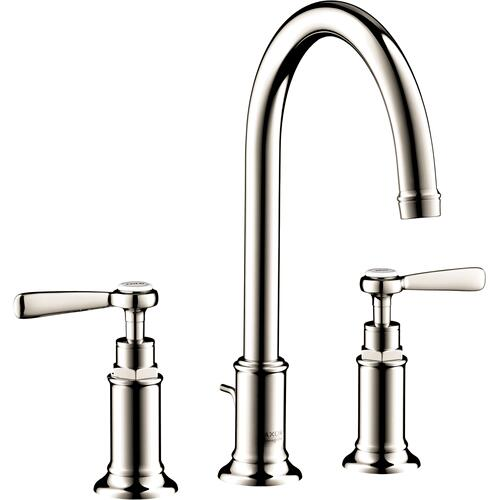 Polished Nickel Widespread Faucet 180 with Lever Handles and Pop-Up Drain, 1.2 GPM