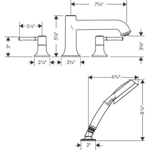Brushed Nickel 4-Hole Roman Tub Set Trim with 1.8 GPM Handshower