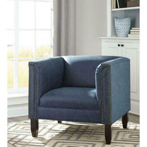 Transitional Dark Blue and Cappuccino Accent Seating