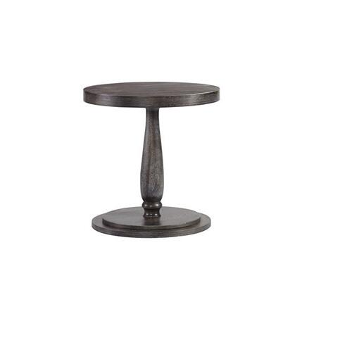 Round Chairside Table - Weathered Pepper Finish