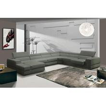 See Details - Divani Casa Pella - Modern Grey Italian Leather U Shaped Sectional Sofa