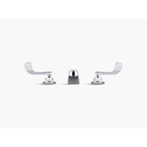 Polished Chrome 0.5 Gpm Widespread Bathroom Sink Faucet With Aerated Flow and Wristblade Handles, Drain Not Included