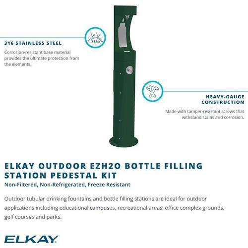 Elkay Outdoor ezH2O Bottle Filling Station Pedestal, Non-Filtered Non-Refrigerated Freeze Resistant Beige