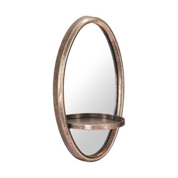 See Details - Petite Ogee Mirror & Shelf Gold