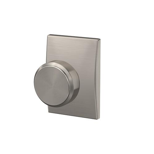 Custom Bowery Non-Turning Knob with Century Trim - Satin Nickel