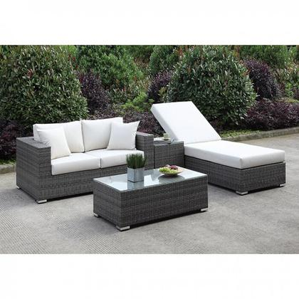 See Details - Somani Love Seat + Adj Chaise + End Table + Coffee Table
