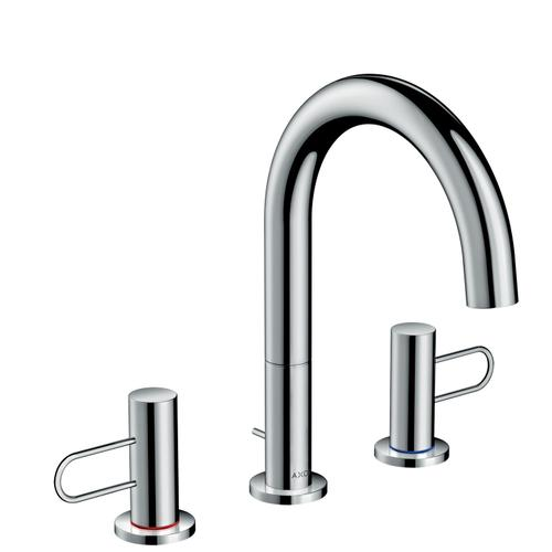 Chrome 3-hole basin mixer 160 with loop handles and pop-up waste set