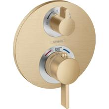 Brushed Bronze Thermostatic Trim with Volume Control and Diverter