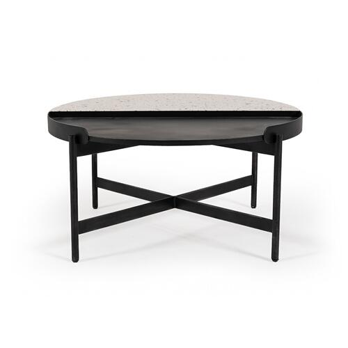 VIG Furniture - Modrest Gemini Modern White Terrazzo Concrete & Black Metal Coffee Table