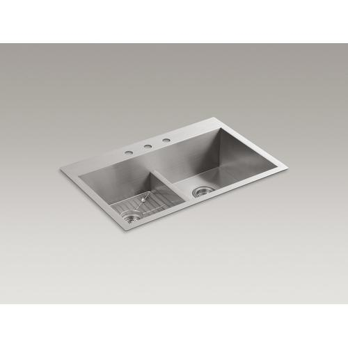 """33"""" X 22"""" X 9-5/16"""" Smart Divide Top-mount/undermount Double-equal Bowl Kitchen Sink With 3 Faucet Holes"""