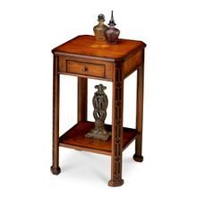 See Details - Selected solid woods and choice veneers. Hand carved details. Cherry veneer top with maple veneer inlay design. One drawer with antique brass finished hardware.