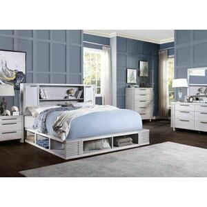 ACME Aromas Eastern King Bed w/Bookcase & Storage - 28117EK - Coastal - Wood (Poplar), Wood Veneer (Oak), MDF, Ply, PB - White Oak