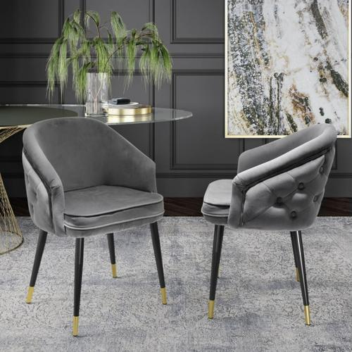 Gallery - Modrest Elliot - Contemporary Grey & Black/Gold Dining Chair (Set of 2)