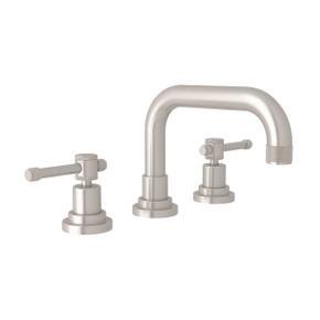 Campo U-Spout Widespread Bathroom Faucet - Satin Nickel with Industrial Metal Lever Handle