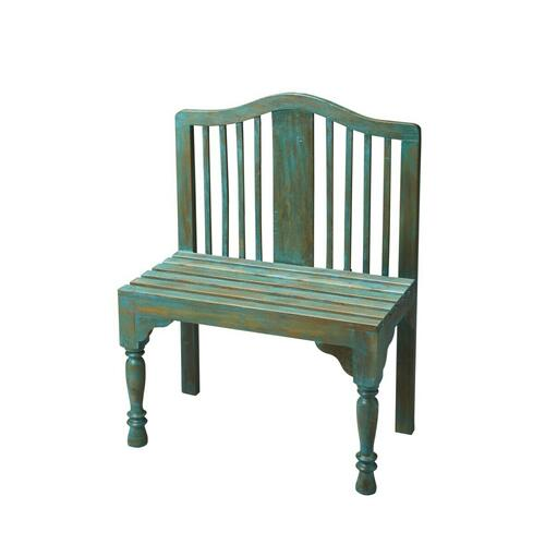 Butler Specialty Company - Reminiscent of a gardener's bench, this beautifully proportioned bench features a slatted back and seat with meticulously turned front legs. Crafted from solid wood it is hand-painted in a whimsical antique finish.