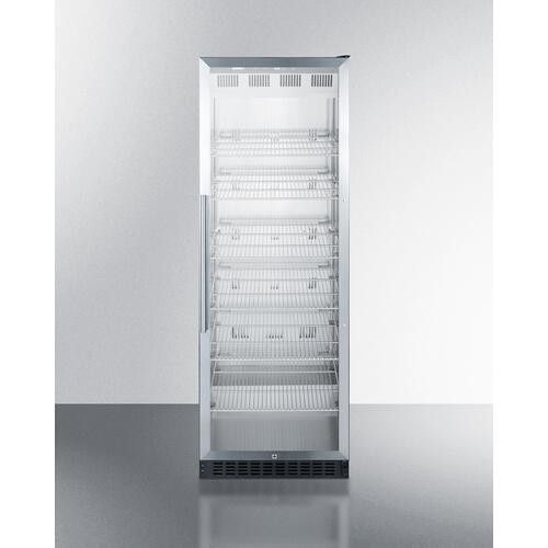 Full-size Commercial Beverage Merchandiser Designed for the Display and Refrigeration of Beverages and Sealed Food, With Stainless Steel Interior, Self-closing Glass Door, and Black Cabinet