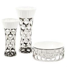 View Product - Silver Vase with Hexagon Cut Outs and White Ceramic Top, Small