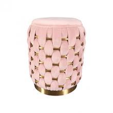 See Details - Divani Casa Meeker - Pink Velvet + Gold Woven Ottoman