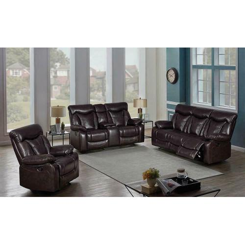 Zimmerman Dark Brown Faux Leather Three-piece Living Room Set