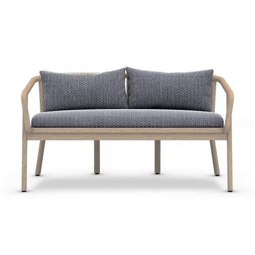 Faye Navy Cover Tate Outdoor Bench, Washed Brown