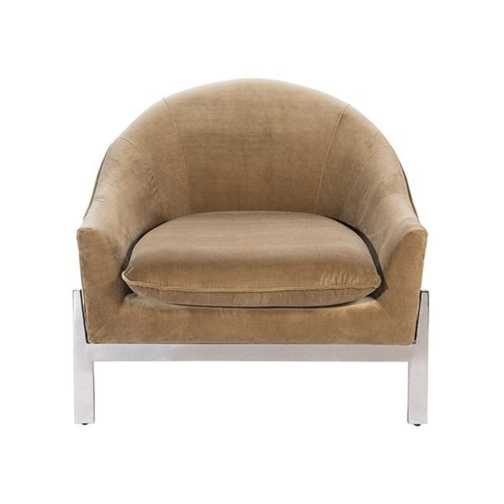 Modern Lounge Chair With Nickel Base In Camel Velvet