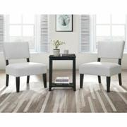 ACME Bryson 3Pc Pack Chair & Table - 59840 - Dove Gray Velvet & Black Product Image
