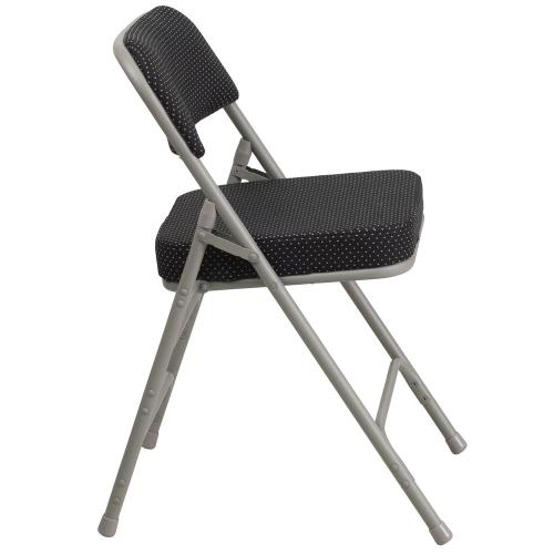 Premium Curved Triple Braced & Double-Hinged Black Pin-Dot Fabric Metal Folding Chair